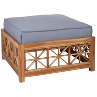 Teak Lattice 19 inch Euro Teak Oil with Gray Outdoor Ottoman, Square