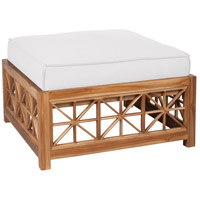 Teak Lattice 19 inch Euro Teak Oil with White Outdoor Ottoman, Square