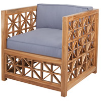 Vincent Lattice Euro Teak Oil with Grey Fabric Outdoor Chair