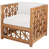 Vincent Lattice Euro Teak Oil with White Fabric Outdoor Chair