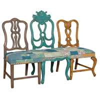Vagabond Cyan with Mustard and Weathered Mahogany Bench