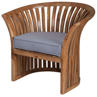 Teak Euro Teak Oil with Gray Outdoor Barrel Chair