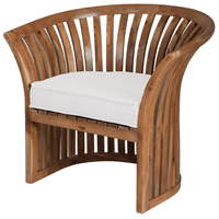 Teak Euro Teak Oil with White Outdoor Barrel Chair