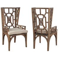 Teak Burnt Umber Outdoor Wing Back Chair, Set of 2