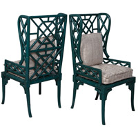 Bamboo Crackle Teal with Heritage Wing Back Chair, Set of 2