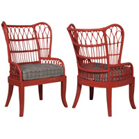 Rattan Layered Coral Wing Back Chair, Set of 2