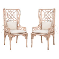 Bamboo Euro Plaster Wing Back Chair, Set of 2
