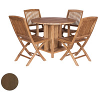 Teak 40 inch Burnt Umber Outdoor Drop Leaf Game Table, with 4 Chairs