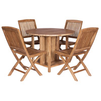 Teak 40 inch Euro Teak Oil Outdoor Drop Leaf Game Table, with 4 Chairs