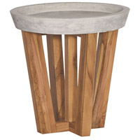 Concrete 18 inch Euro Teak Oil Outdoor Side Table, Round