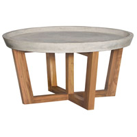 Concrete 32 inch Euro Teak Oil Outdoor Cocktail Table, Round