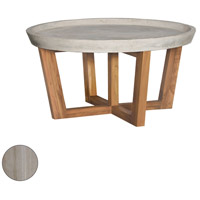 Concrete 32 inch Henna Teak Outdoor Cocktail Table, Round