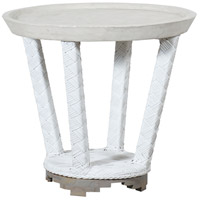 Cape Town 24 inch Wicker White Outdoor Side Table