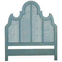 Caned Coastal Aqua Over Scandinavian Linen Headboard, King