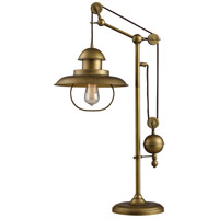 Hamlin 32 inch Antique Brass Table Lamp Portable Light, Adjustable