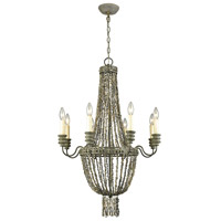 Cote des Basques 8 Light 24 inch Pebble Grey and Grey Shell Chandelier Ceiling Light