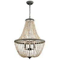 Cote des Basques 3 Light 20 inch Pebble Grey and Natural Shell Chandelier Ceiling Light