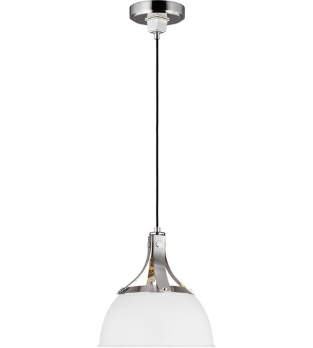 Generation Lighting TP1051PN/MWT TOB by Thomas O'Brien Logan 1 Light 12 inch Polished Nickel / Matte White Pendant Ceiling Light photo thumbnail