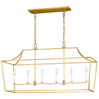 Generation Lighting CC1036BBS Chapman & Myers Southold 6 Light 48 inch Burnished Brass Hanging Linear Lantern Ceiling Light