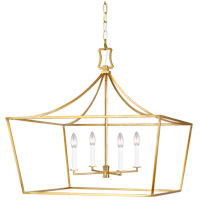 Generation Lighting CC1044BBS Chapman & Myers Southold 4 Light 28 inch Burnished Brass Hanging Wide Lantern Ceiling Light