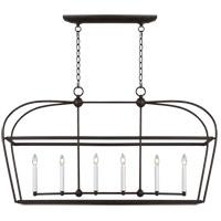 Generation Lighting CC1216SMS C&M by Chapman & Myers Stonington 6 Light 49 inch Smith Steel Linear Lantern Ceiling Light
