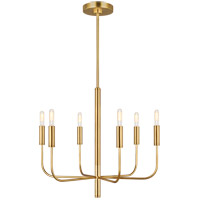 Generation Lighting EC1006BBS ED Ellen DeGeneres Brianna 6 Light 24 inch Burnished Brass Chandelier Ceiling Light