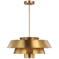 Generation Lighting EP1081BBS ED Ellen DeGeneres Brisbin 1 Light 24 inch Burnished Brass / Matte White Pendant Ceiling Light