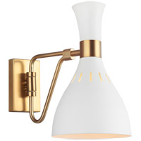 Generation Lighting EW1061MWT ED Ellen DeGeneres Joan 12 inch 75 watt Matte White / Burnished Brass Swing Arm Sconce Wall Light