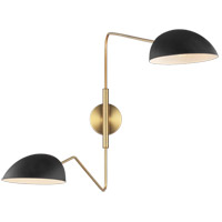 Generation Lighting EW1072MBK ED Ellen DeGeneres Jane 42 inch 60 watt Midnight Black / Burnished Brass Swing Arm Sconce Wall Light