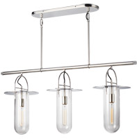 Generation Lighting KC1023PN Kelly by Kelly Wearstler Nuance 3 Light 45 inch Polished Nickel Linear Chandelier Ceiling Light