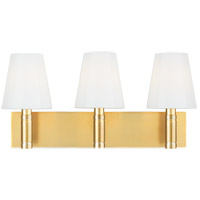 Generation Lighting TV1033BBS TOB by Thomas OBrien Beckham Classic 3 Light 21 inch Burnished Brass Vanity Light Wall Light