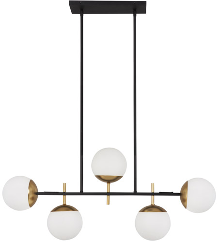 George Kovacs P1355 618 Alluria 5 Light 36 Inch Weathered Black With Autumn Gold Island Ceiling