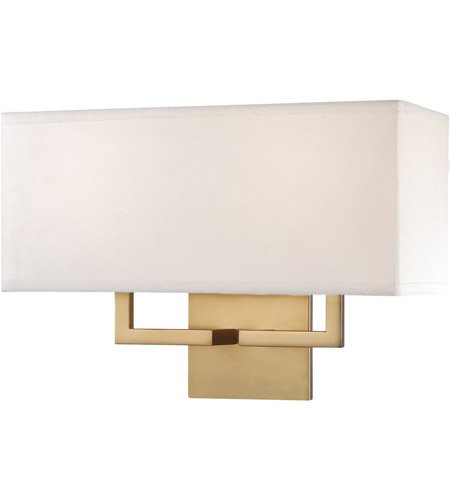 George Kovacs P472-248 Signature 2 Light 16 inch Honey Gold Wall Sconce Wall Light in White Fabric, Incandescent photo
