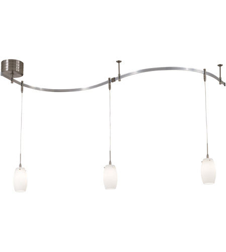 George Kovacs P8003 1 084 Gk Lightrail 3 Light Brushed Nickel Mini Pendant Rail Kit Ceiling In Etched Opal Low Voltage