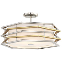 George Kovacs P1072-657-L Levels LED 20 inch Polished Nickel/Honey Gold Semi Flush Mount Ceiling Light Convertible