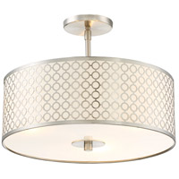 Dots 3 Light 16 inch Brushed Nickel Semi Flush Mount Ceiling Light