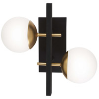 George Kovacs P1351-618 Alluria 2 Light 16 inch Weathered Black with Autumn Gold Wall Sconce Wall Light