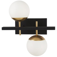 Alluria 2 Light 16 inch Weathered Black with Autumn Gold Bath Bar Wall Light
