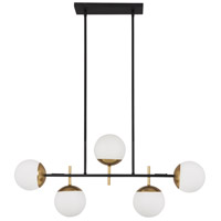 Alluria 5 Light 36 inch Weathered Black with Autumn Gold Island Light Ceiling Light