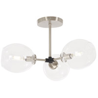 George Kovacs P1363-619 Nexpo 3 Light 19 inch Brushed Nickel with Black Accents Semi-Flush Mount Ceiling Light