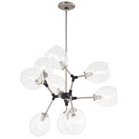 George Kovacs P1369-619 Nexpo 9 Light 30 inch Brushed Nickel with Black Accents Chandelier Ceiling Light
