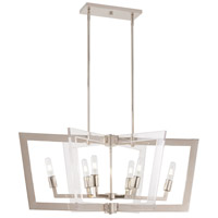 George Kovacs P1376-613 Crystal Chrome 6 Light 37 inch Polished Nickel Island Light Ceiling Light