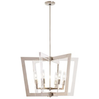 George Kovacs P1378-613 Crystal Chrome 6 Light 26 inch Polished Nickel Pendant Ceiling Light
