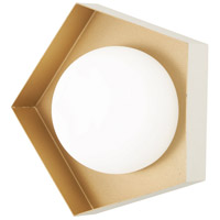 George Kovacs P1391-044G-L Five-O LED 11 inch Textured White with Gold Leaf Bath Bar Wall Light