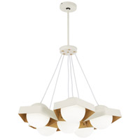 George Kovacs P1395-044G-L Five-O LED 27 inch Textured White with Gold Leaf Pendant Ceiling Light