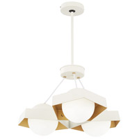 George Kovacs P1399-044G-L Five-O LED 23 inch Textured White with Gold Leaf Pendant Ceiling Light Convertible To Semi Flush