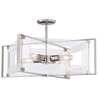 Crystal Clear 4 Light 20 inch Polished Nickel Semi Flush Mount Ceiling Light, Convertible to Pendant