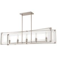 George Kovacs P1405-613 Crystal Clear 5 Light 43 inch Polished Nickel Island Light Ceiling Light