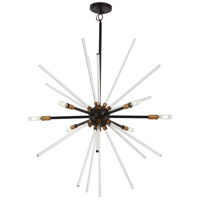 George Kovacs P1793-416 Spiked 6 Light 31 inch Painted Bronze with Natural Brush Pendant Ceiling Light
