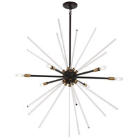 George Kovacs P1794-416 Spiked 6 Light 35 inch Painted Bronze with Natural Brush Pendant Ceiling Light